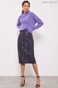 Mint Velvet Snake Print PU Pencil Skirt