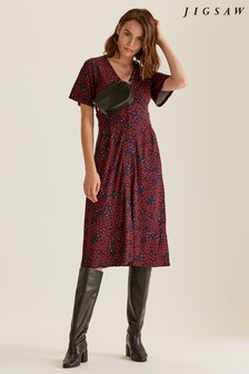 Jigsaw Brown Star Daisy Jersey Tea Dress