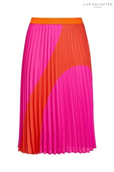 Live Unlimited Red/Pink Spot Pleated Skirt