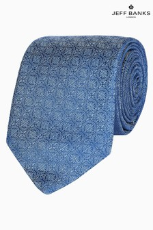 Jeff Banks Blue Intricate Deco Design Silk Tie
