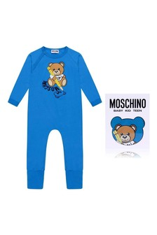 Baby Boys Blue Cotton Teddy Romper