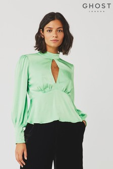 Ghost London Mila Soft Green Satin Blouse