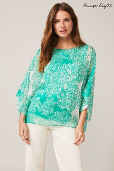 Phase Eight Green Colette Silk Blouse