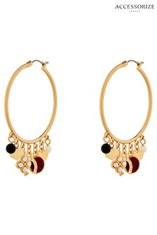 Accessorize Gold Tone Ivy League Charmy Hoop Earrings