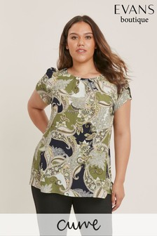 Evans Curve Multi Paisley Shell Top