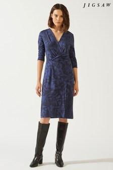 Jigsaw Blue Woodland Floral Jersey Dress