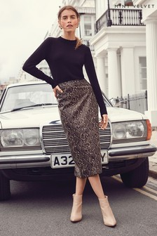Mint Velvet Snake Print PU Pencil Skirt