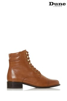 Dune London Pitch Tan Leather Lace-Up Ankle Boots