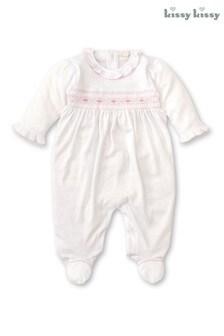 Kissy Kissy White Hand Embroidered Smocked Babygrow