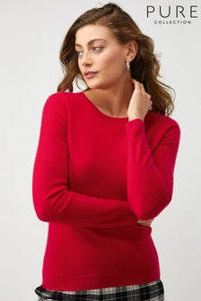 Pure Collection Red Cashmere Slim Fit Crew Neck Sweater