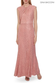 Gina Bacconi Pink Jovanna Sequin Lace Maxi Dress