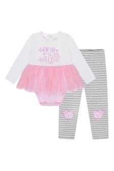 Baby Girls White/Pink Cotton Leggings Set