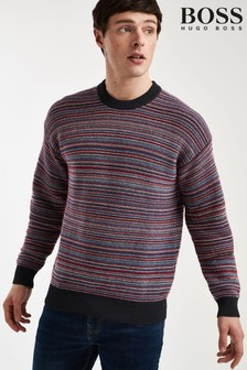 BOSS Red Kelsanga Striped Jumper