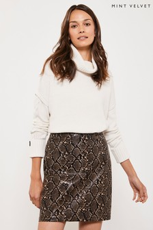Mint Velvet Snake Print Mini Skirt