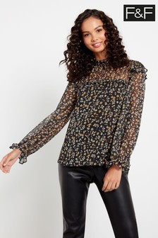 F&F Black Ditsy Floral Blouse