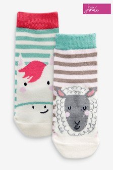 Joules Green Neat Feet Character Socks 2 Pack