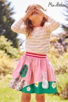 Mini Boden Pink Scene Appliqué Skirt