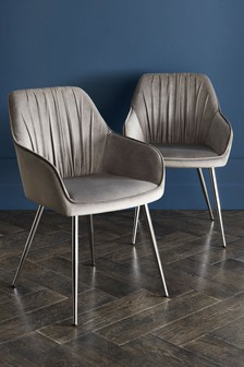 Set of 2 Priya Dining Chairs With Chrome Legs