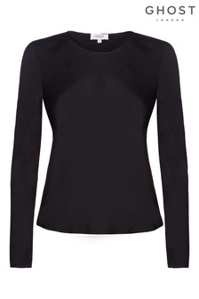 Ghost London Black Alix Satin Top