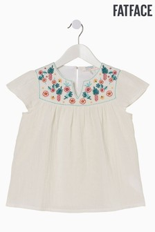 FatFace Natural Pineapple Embroidered Blouse