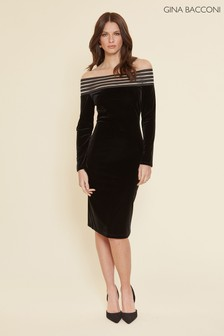 Gina Bacconi Black Adaira Velvet Off The Shoulder Dress