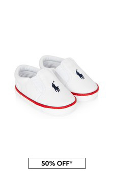 Ralph Lauren Kids Baby Unisex White Bal Harbour Trainers
