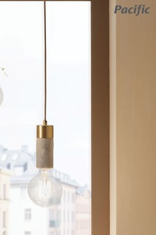Frowick Concrete And Brushed Chrome Ceiling Light by Pacific Lighting