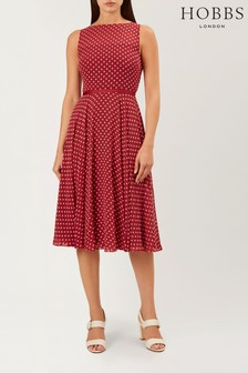 Hobbs Red Della Midi Dress