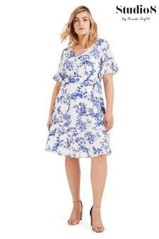 Studio 8 Blue Ines Printed Wrap Dress