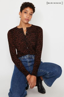 Warehouse Brown Leopard Print Cardigan