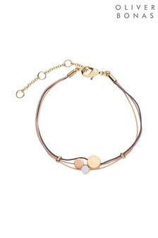 Oliver Bonas Natural Mikawari Cord & Brass Bead Bracelet