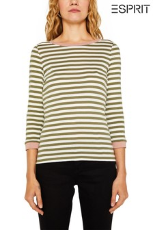 Esprit Green Long Sleeve T-Shirt With Contrast Details