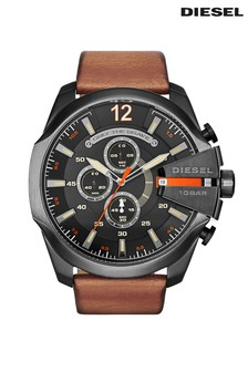 Diesel® Leather Mega Chief Watch