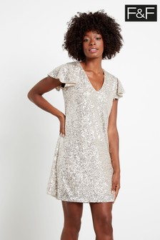 F&F Silver Sequin Frill Sleeve Dress