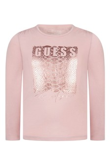 Girls Pink Cotton Long Sleeve Logo T-Shirt