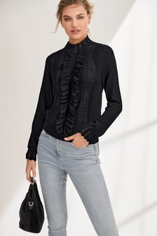 Ruffle Placket Top