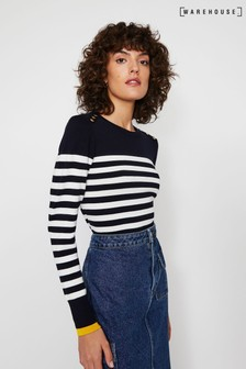 Warehouse Blue Breton Stripe Button Jumper
