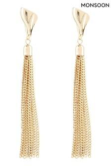 Monsoon Gold Tone Long Tassel Earrings