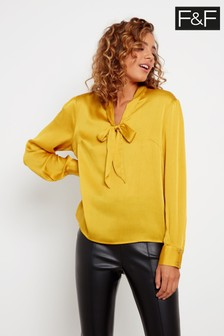 F&F Yellow Satin Bow Neck Blouse