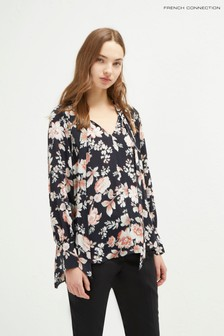 French Connection Black Aletta Crepe Tie Neck Blouse