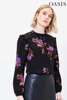 Oasis Violet Geblümtes Top mit Blumenspitze, Schwarz