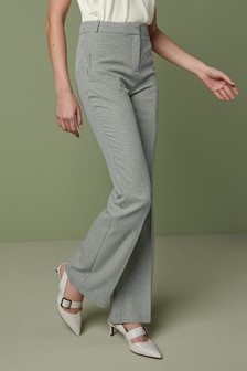 Check Boot Cut Trousers
