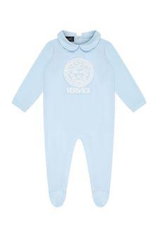 Versace Baby Boys Blue Cotton Babygrow