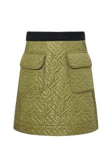 Burberry Kids Girls Green Pocket Skirt
