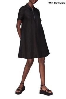 Whistles Black Zip-Up Collar Mini Dress