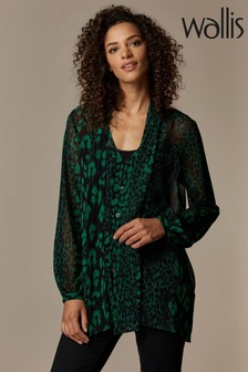 Wallis Green Animal Tie Neck Blouse