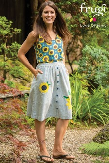 Frugi GOTS Organic Sunflower Appliqué Skirt