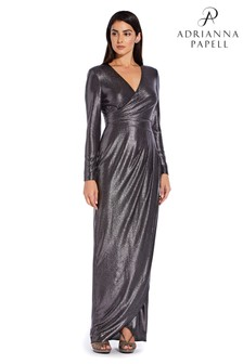 Adrianna Papell Black Metallic Jersey Gown