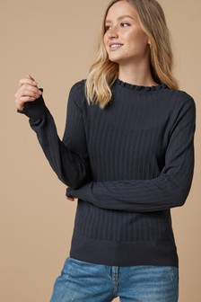 Pointelle Ruffle Jumper