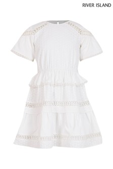 River Island White Ruffle Tiered Dress